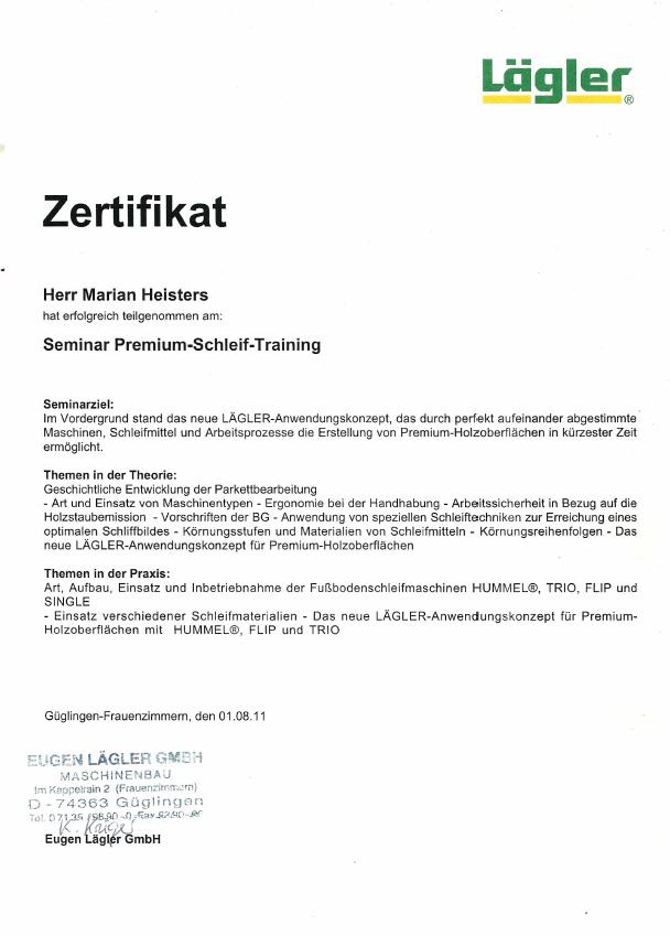 Zertifikat Schleiftraining